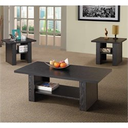 Bowery Hill 3 Piece Occasional Table Sets Contemporary Set in Black