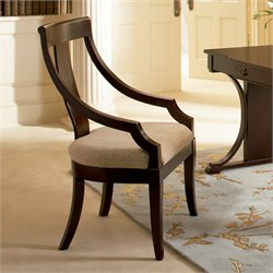 Bowery Hill Vertical Splat Dining Arm Chair with Fabric Seat in Cherry