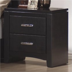 Bowery Hill Faux Leather 2 Drawer Nightstand in Black