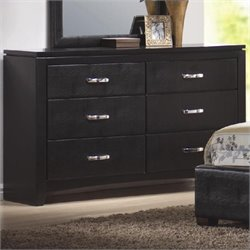 Bowery Hill Faux Leather 6 Drawer Dresser in Black