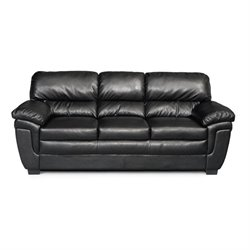 Bowery Hill Casual Split Back Leather Sofa in Black