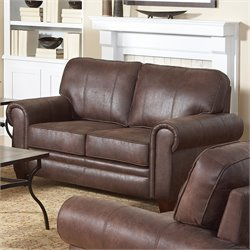 Bowery Hill Rustic Styled Microfiber Loveseat in Brown