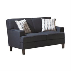 Bowery Hill Linen Loveseat in Blue