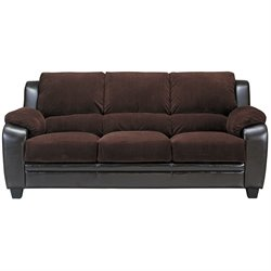 Bowery Hill Faux Leather Stationary Sofa in Chocolate