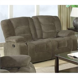 Bowery Hill Double Reclining Loveseat in Brown Sage Velvet