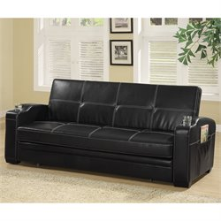 Bowery Hill Faux Leather Sofa Bed in Black