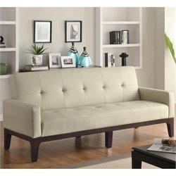 Bowery Hill Casual Faux Leather Sofa with Arms in Cream