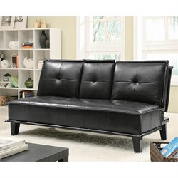 Bowery Hill Contemporary Faux Leather Sofa with Tray in Black