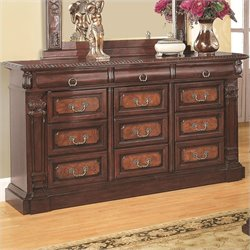 Bowery Hill 9 Drawer Dresser in Warm Cherry