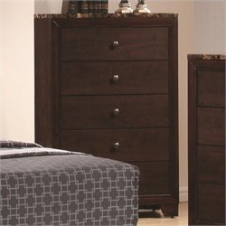 Bowery Hill 5 Drawer Chest with Faux Marble Top in Walnut