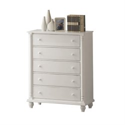 Bowery Hill 5 Drawer Chest in Distressed White