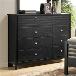 Bowery Hill 8 Drawer Double Dresser in Black