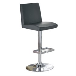 Bowery Hill Contemporary Adjustable Bar Stool with Roll Back in Black