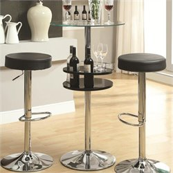 Bowery Hill Tempered Glass Top Bar Table with Storage in Black