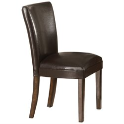 Bowery Hill Faux Leather Parson Dining Chair in Deep Brown Vinyl