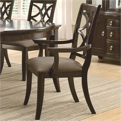 Bowery Hill Dining Arm Chair with Fabric Cushion Seating in Espresso