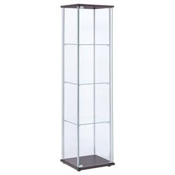 Bowery Hill 5 Shelf Glass Curio Cabinet in Cappuccino