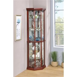 Bowery Hill 6 Shelf Corner Curio Cabinet in Cherry