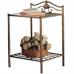 Bowery Hill Iron Nightstand with Shelf in Antique Brushed Gold