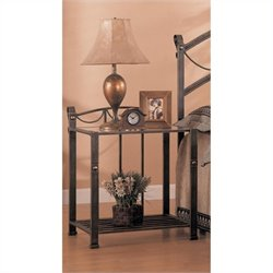 Bowery Hill Iron Nightstand with Shelf in Antique Brass