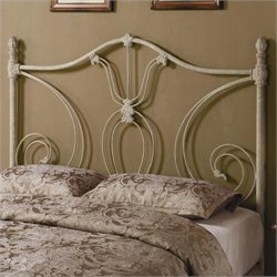 Bowery Hill Full Queen Metal Headboard in White
