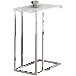 Bowery Hill Frosted Tempered Glass Top Snack Table in Chrome