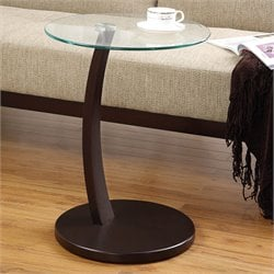 Bowery Hill Accent Table with Round Glass Table Top in Dark Brown