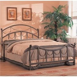 Bowery Hill Queen Iron Bed with Rope Detail in Antique Brass