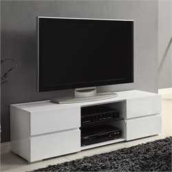 Bowery Hill High Gloss TV Stand with Glass Shelf in White