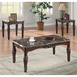 Bowery Hill 3 Piece Faux Marble Coffee Table Set in Cherry