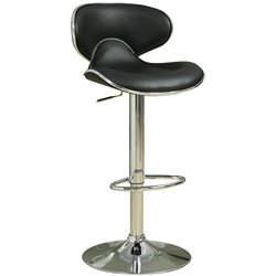 Bowery Hill Adjustable Bar Stool with Swivel Seat in Black