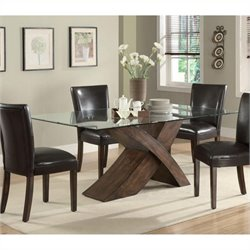 Bowery Hill Large Scaled X Base Dining Table in Deep Brown