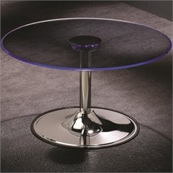 Bowery Hill Round LED Glass Top Coffee Table in Chrome