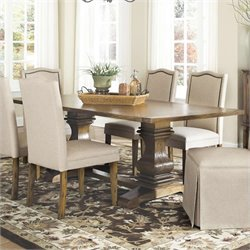 Bowery Hill Dining Table with Shaped Double Pedestals in Coffee