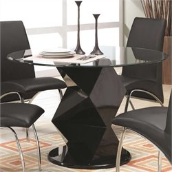 Bowery Hill Contemporary Round Glass Top Dining Table in Black