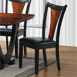 Bowery Hill Upholstered Dining Chair in Black and Cherry