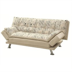 Bowery Hill Convertible Sofa with Adjustable Armrests Bed in Oatmeal