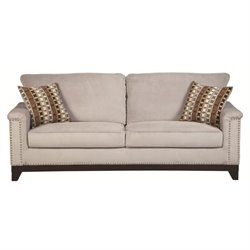 Bowery Hill Velvet Sofa in Blue Gray