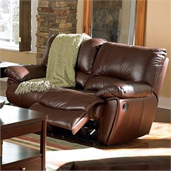 Bowery Hill Leather Power Reclining Loveseat in Brown