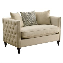 Bowery Hill Tufted Fabric Loveseat in Beige