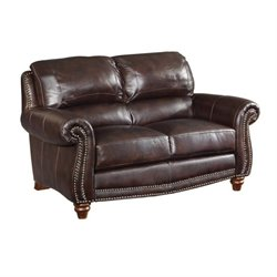 Bowery Hill Leather Loveseat in Burgundy Brown