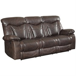 Bowery Hill Faux Leather Sofa in Dark Brown