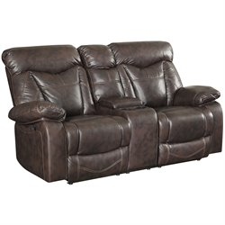 Bowery Hill Faux Leather Loveseat in Brown