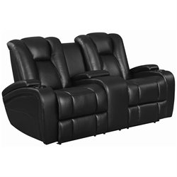 Bowery Hill Faux Leather Power Reclining Loveseat in Black