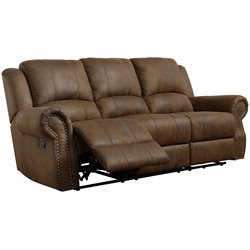 Bowery Hill Microfiber Motion Reclining Sofa in Brown