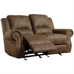 Bowery Hill Microfiber Motion Reclining Loveseat in Brown