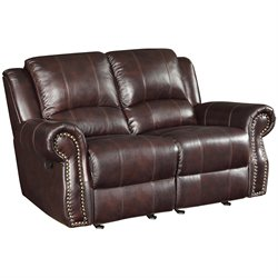Bowery Hill Leather Motion Reclining Loveseat in Tobacco