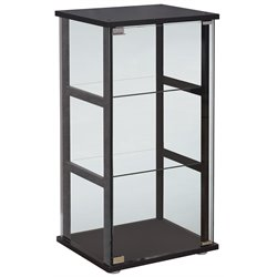 Bowery Hill 3 Shelf Contemporary Glass Curio Cabinet in Black