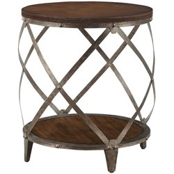 Bowery Hill Drum Shape End Table in Red Brown