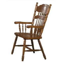 Bowery Hill Turned Spindles Dining Arm Chair in Oak